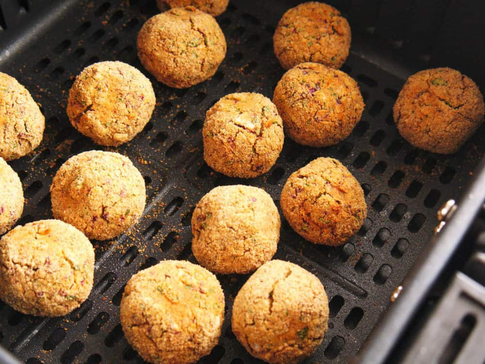 falafel balls coming out of the oven