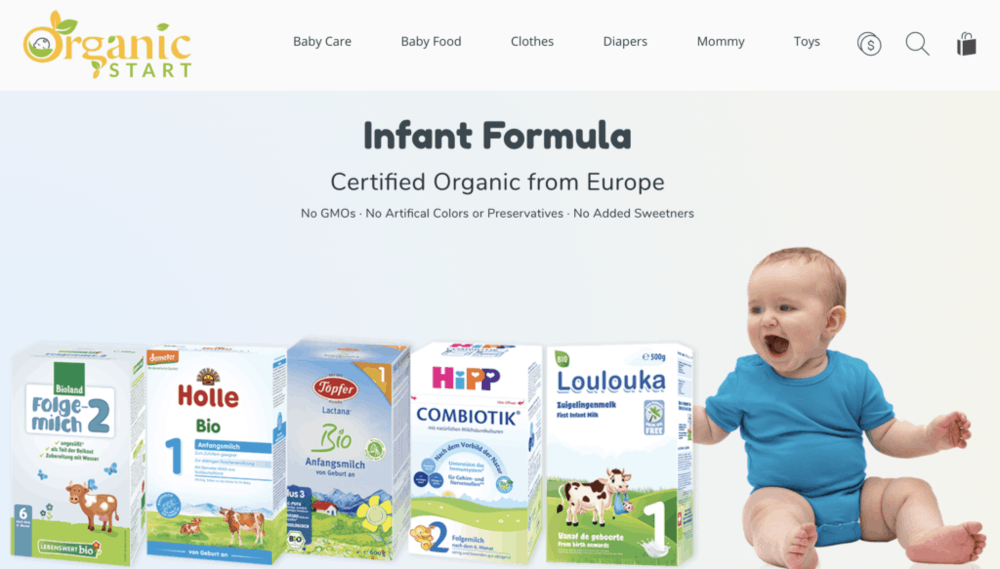 best organic baby formula - photo of organic start's website