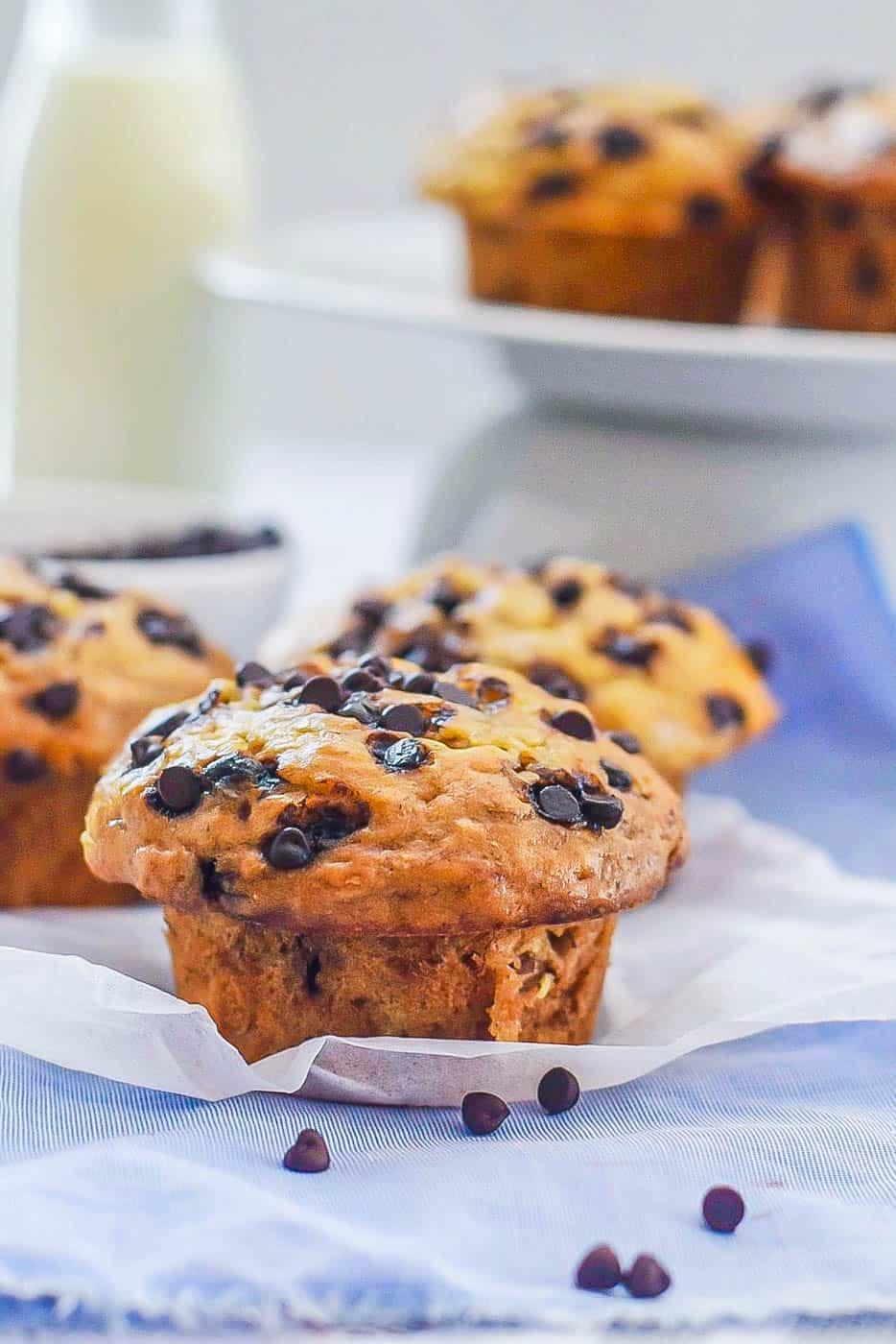 Chocolate Chip Banana Muffins Recipe (Easy + Healthy!)