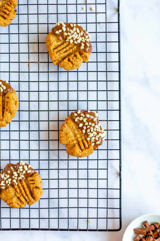 Keto Peanut Butter Cookies on wire rack