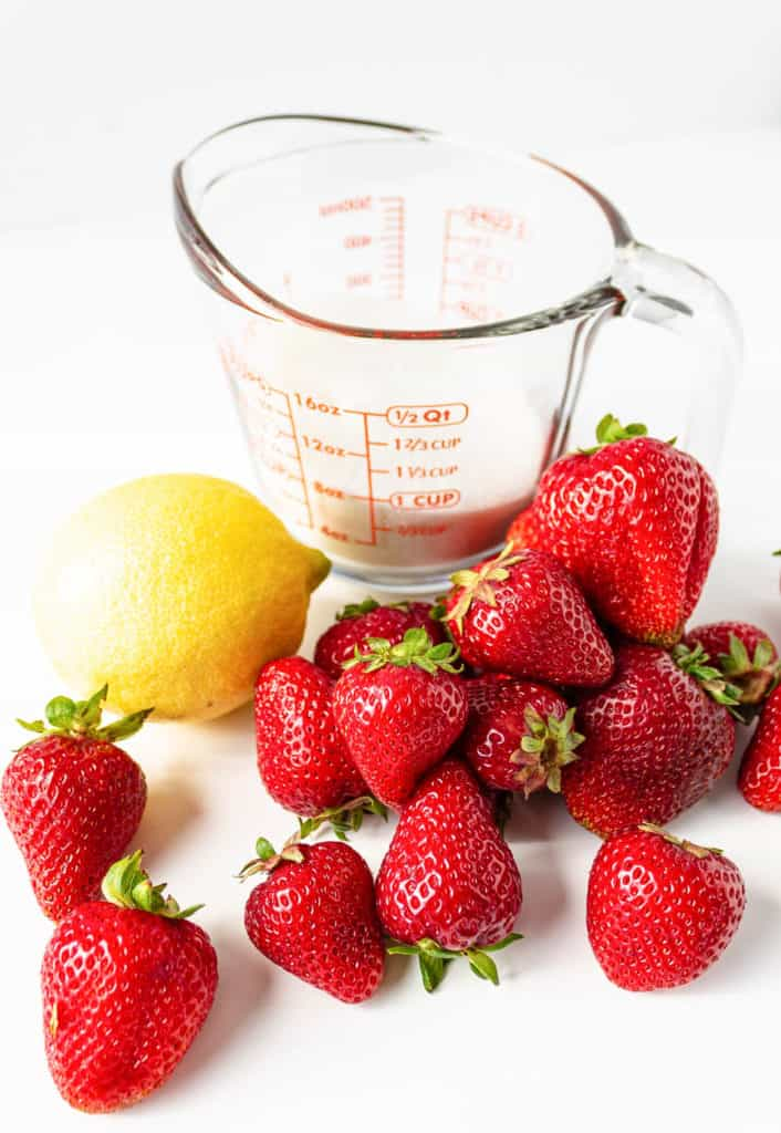 ingredients for Strawberry Simple Syrup