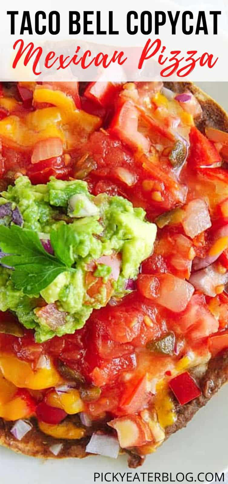 Healthy Copycat Taco Bell Mexican Pizza topped with salsa and guacamole, served on a white plate