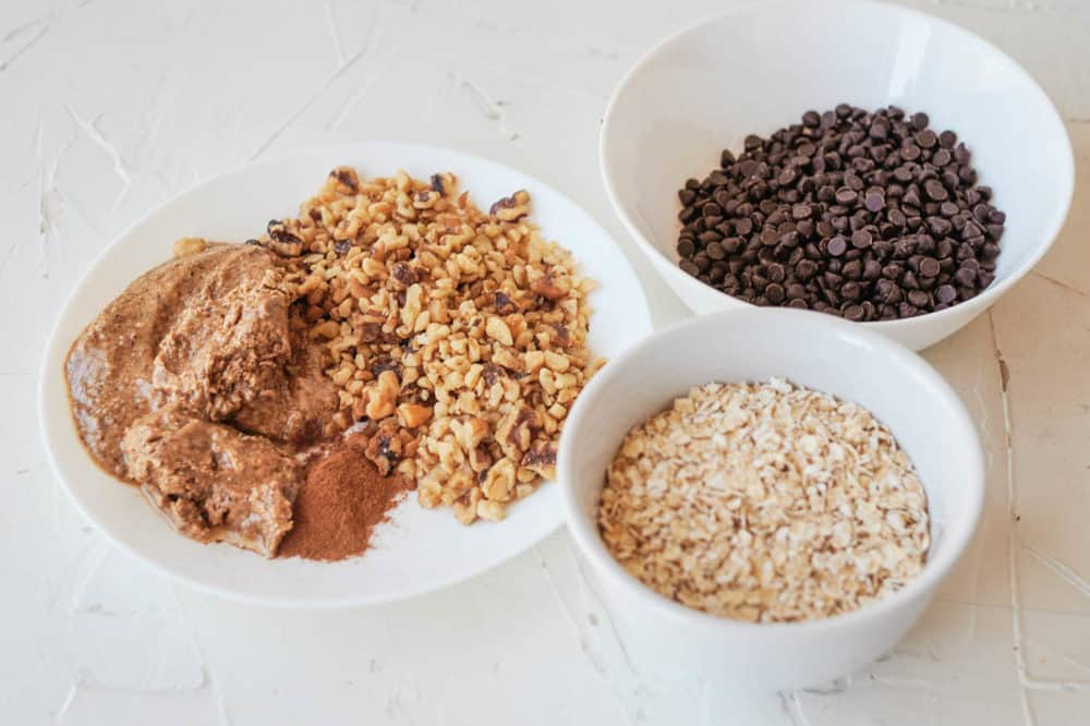 ingredients for Vegan Oatmeal Cookies with Chocolate Chips