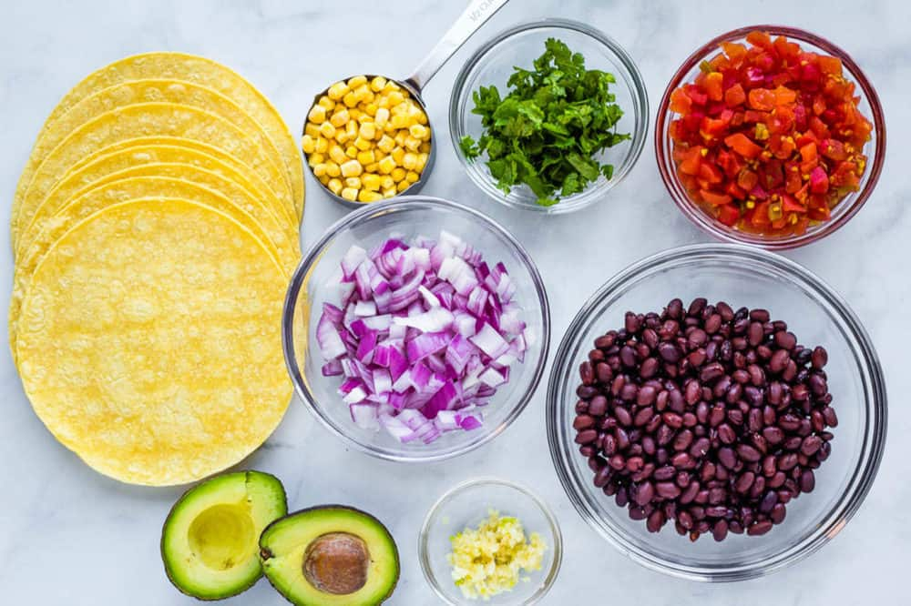 ingredients for vegan tacos