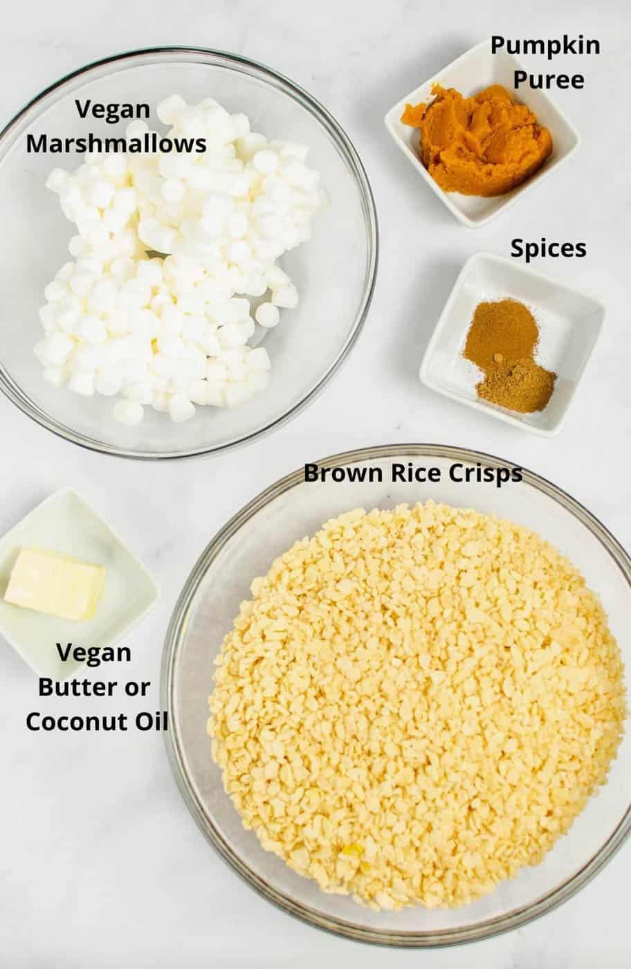 vegan rice krispie pumpkin treats ingredients