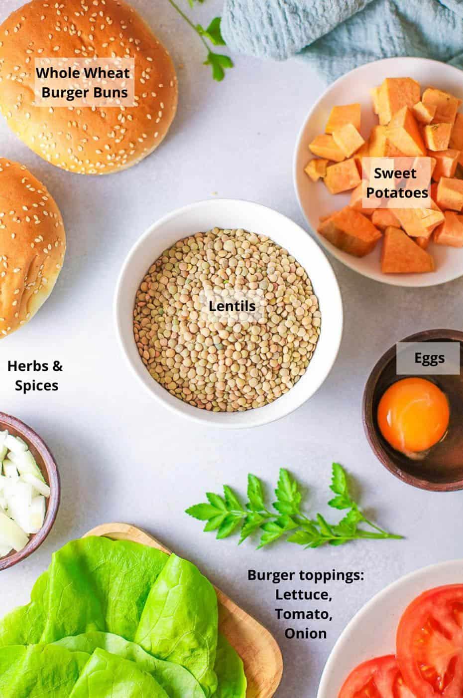 ingredients for falafel burgers