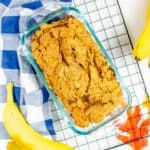 gluten free pumpkin bread, served in a baking dish on top of a baking rack