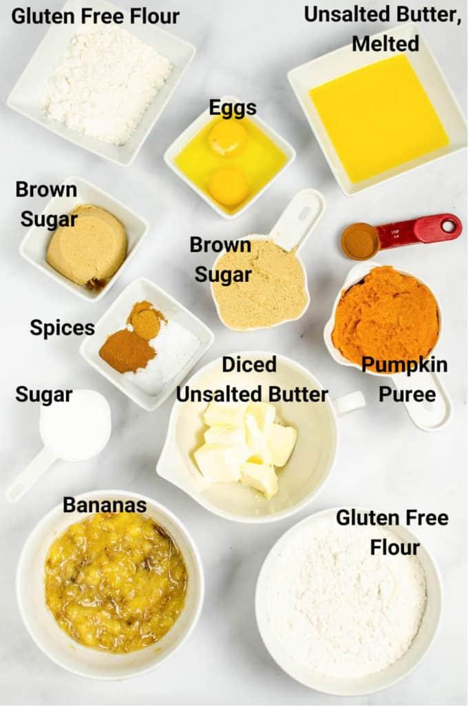 ingredients for gluten free pumpkin coffee cake