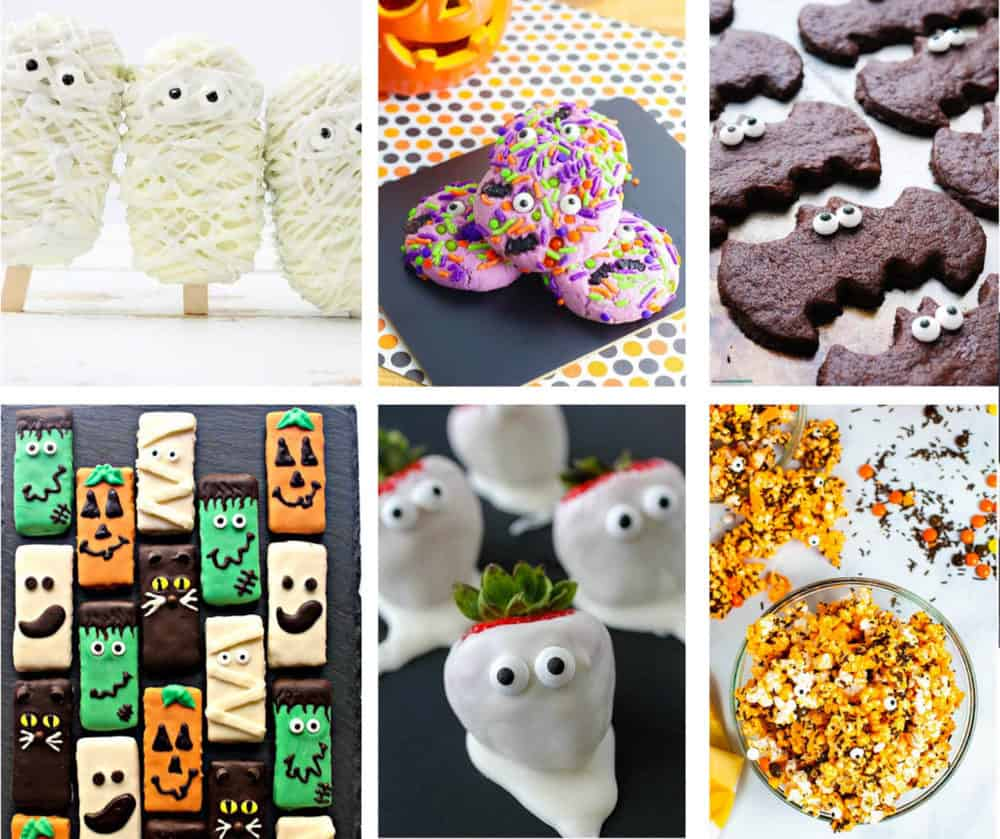 a collage of different halloween desserts - monster cookies, mummy cake pops, bat cookies, halloween popcorn