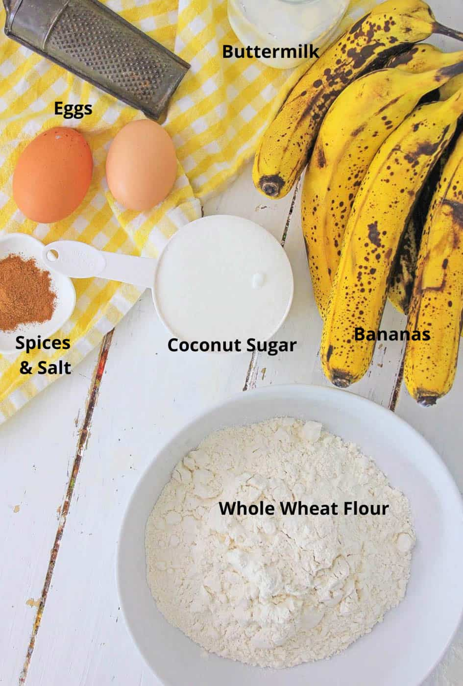 ingredients for healthy banana bread