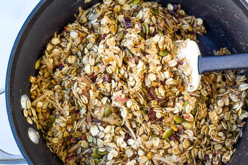oats and nuts mixture in a pan