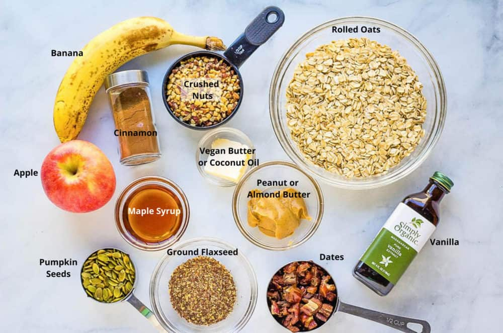 ingredients for healthy flapjack recipe
