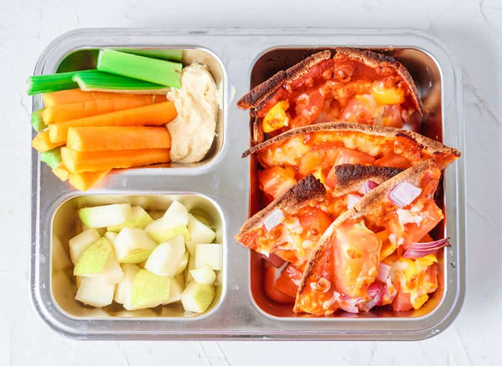 Healthy Lunch Ideas for Toddlers - pita pizzas, carrot sticks with hummus, pear