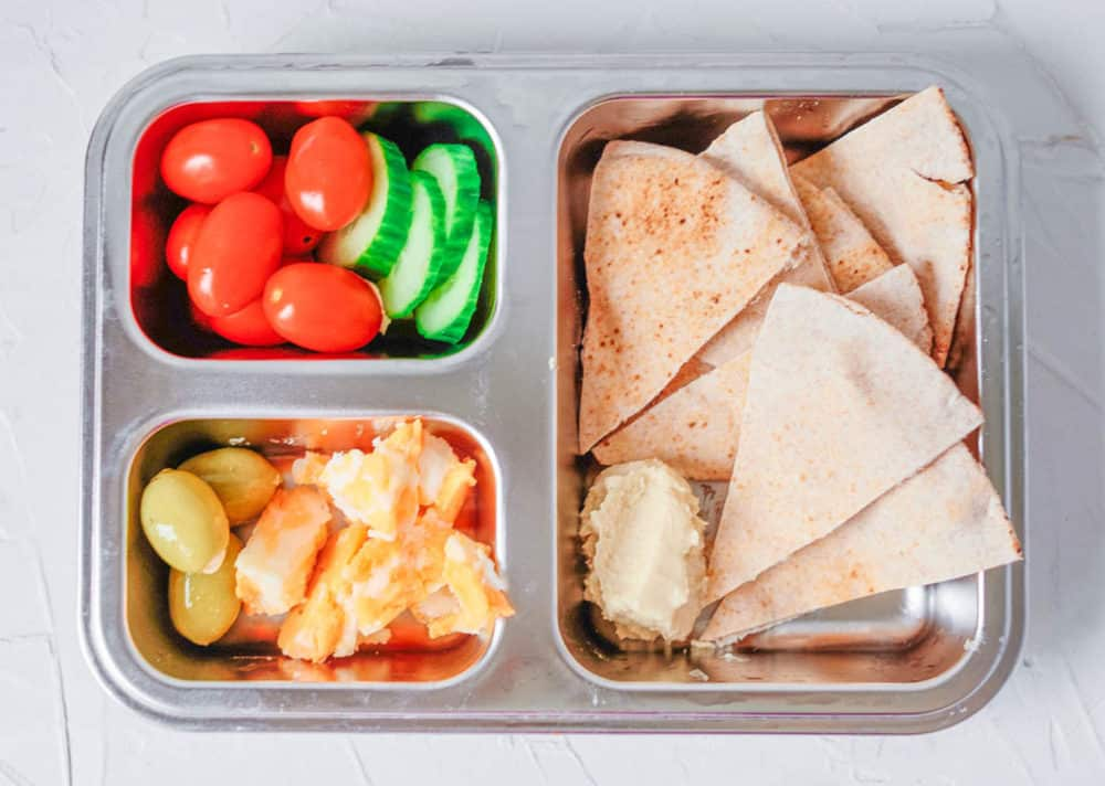 Healthy Lunch Ideas for Toddlers - pita, hummus, olives, tomatoes, cucumbers, cheese