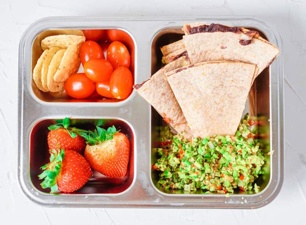 Healthy Lunch Ideas for Toddlers - quesadilla with beans & cheese, avocado, strawberries, chips, tomatoes