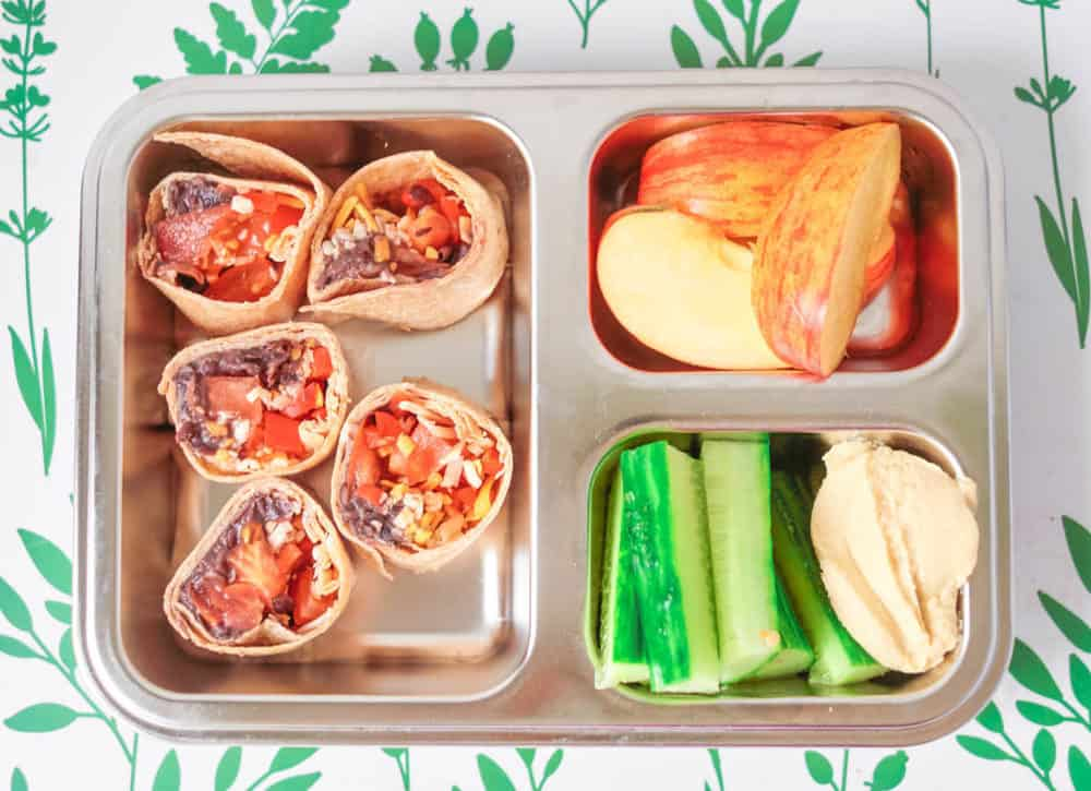 Healthy toddler lunches - burrito wraps, apples and cucumbers with hummus