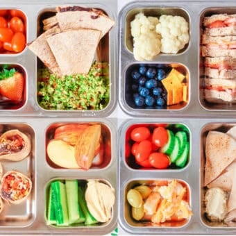 photo of healthy toddler lunch idea bento boxes -- 4 healthy ideas with lots of variety
