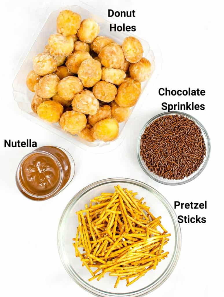 ingredients for nutella donut acorns
