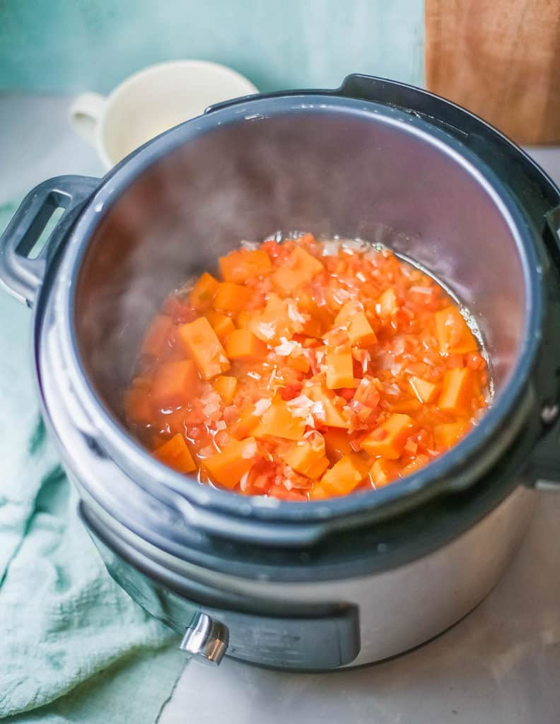 soup simmering in instant pot