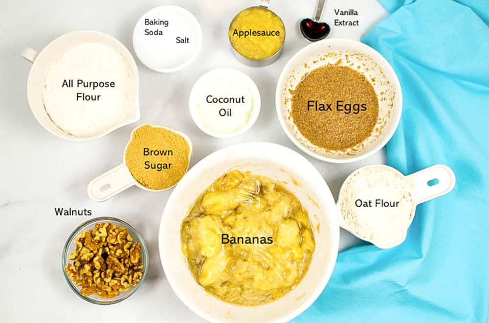 ingredients for this vegan banana bread recipe