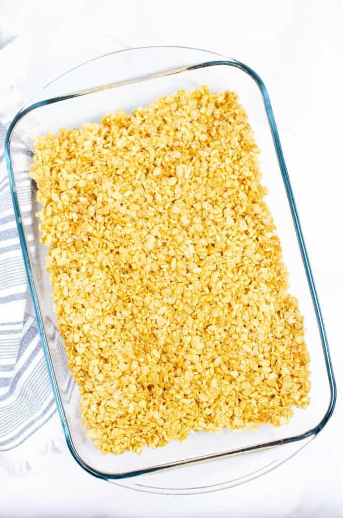 rice krispie mixture added to pan