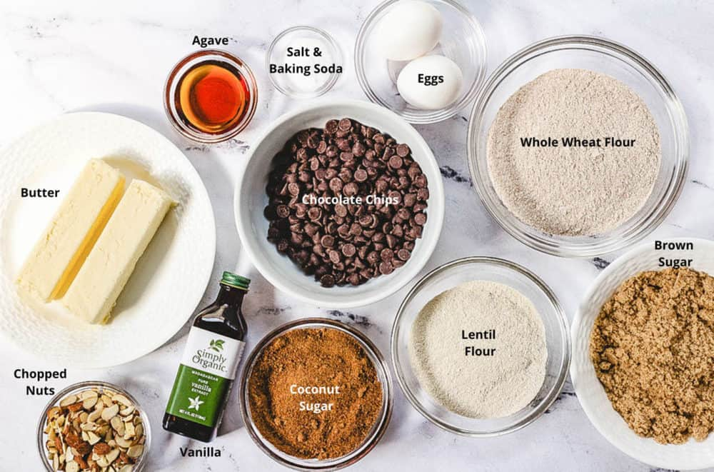 ingredients for healthy chocolate chip cookies