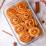 healthy cinnamon rolls fresh out of the oven in a baking pan