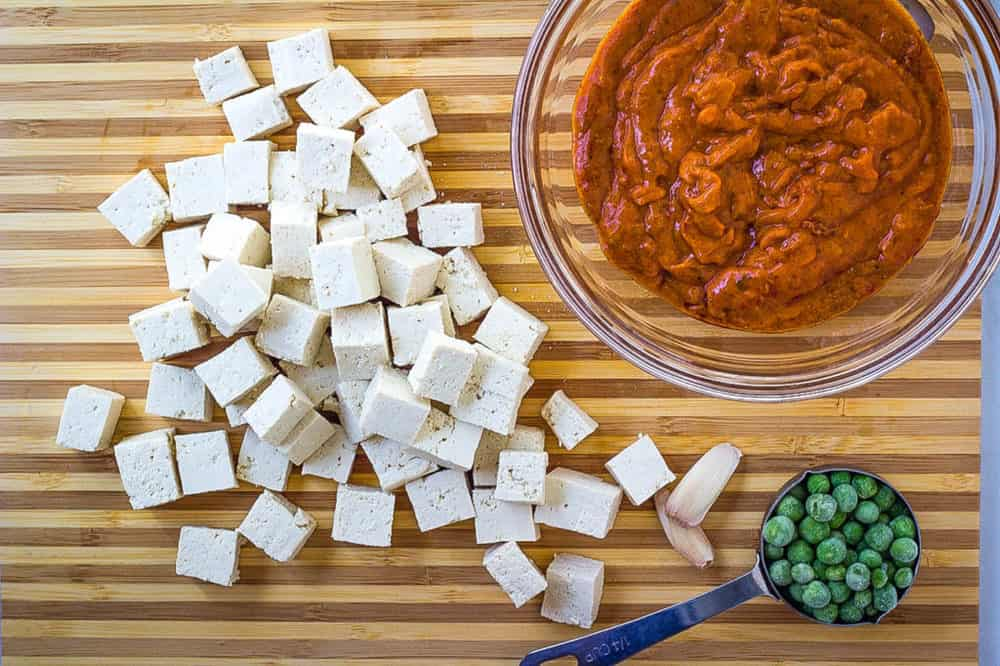 ingredients for mattar tofu