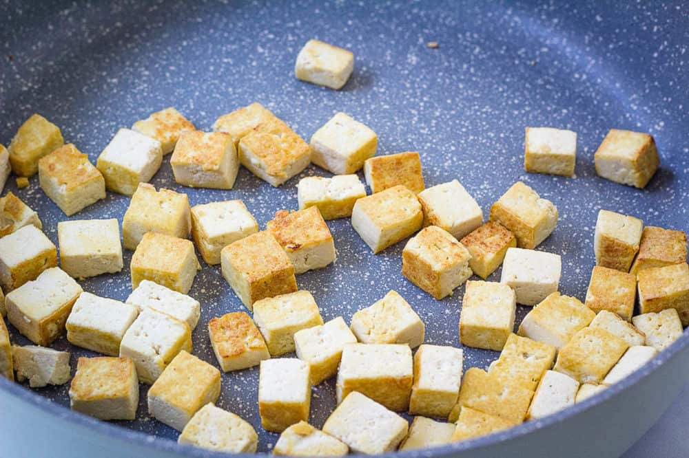 sauteed tofu in a pan
