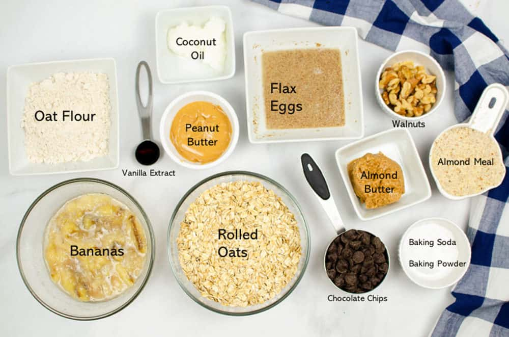 ingredients for vegan banana oatmeal cookies with peanut butter