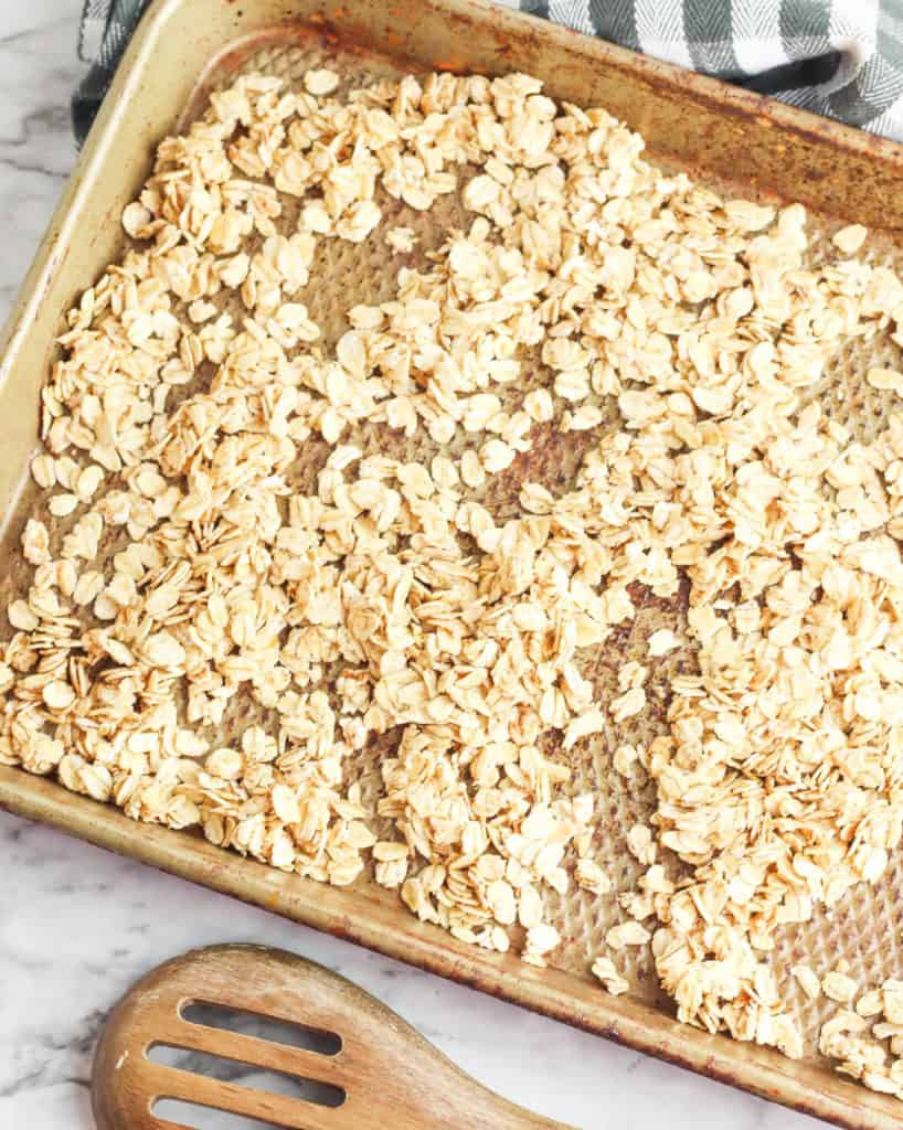 oats on a baking sheet