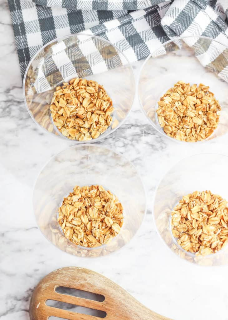 homemade granola placed in glass cups