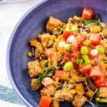 tofu scramble in blue bowl