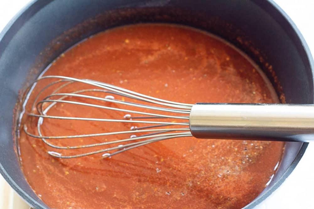 homemade enchilada sauce in a pot