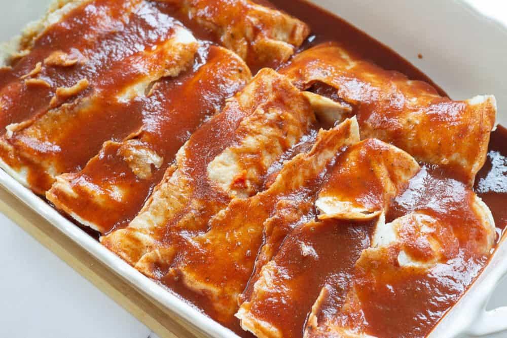 enchiladas ready to go into the oven
