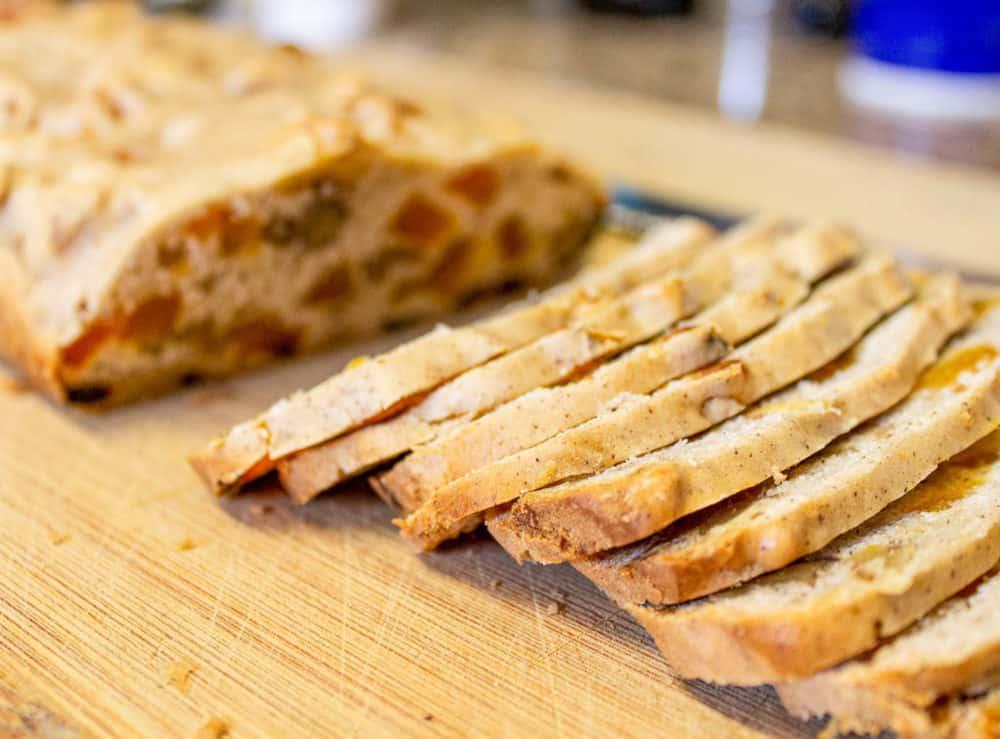 biscotti sliced on a cutting board