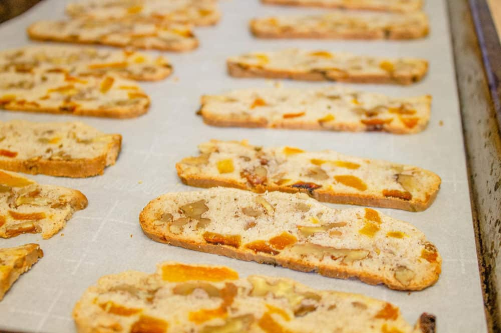 biscotti ready to go into the oven on a baking sheet
