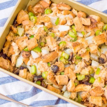 gluten free stuffing in a baking dish