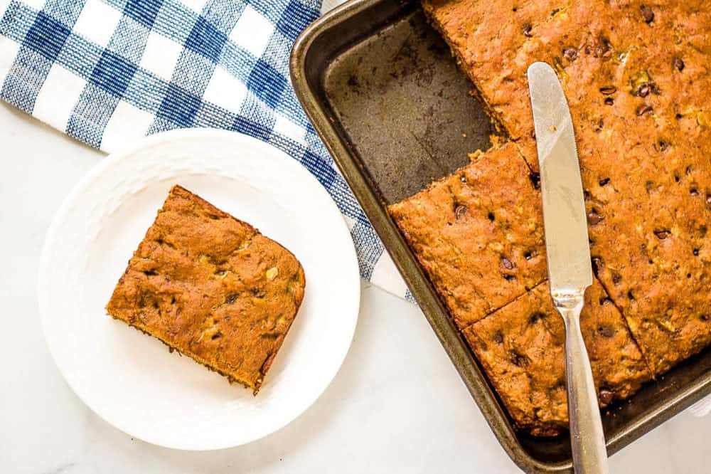 slice of healthy chocolate chip banana bread