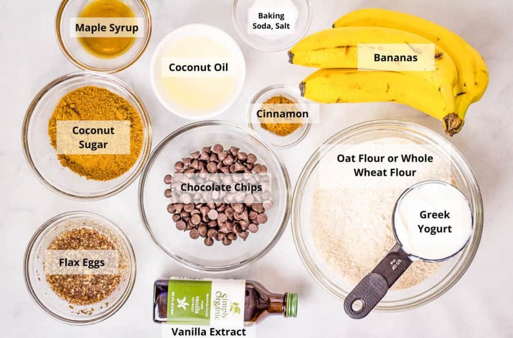 ingredients for healthy chocolate chip banana bread