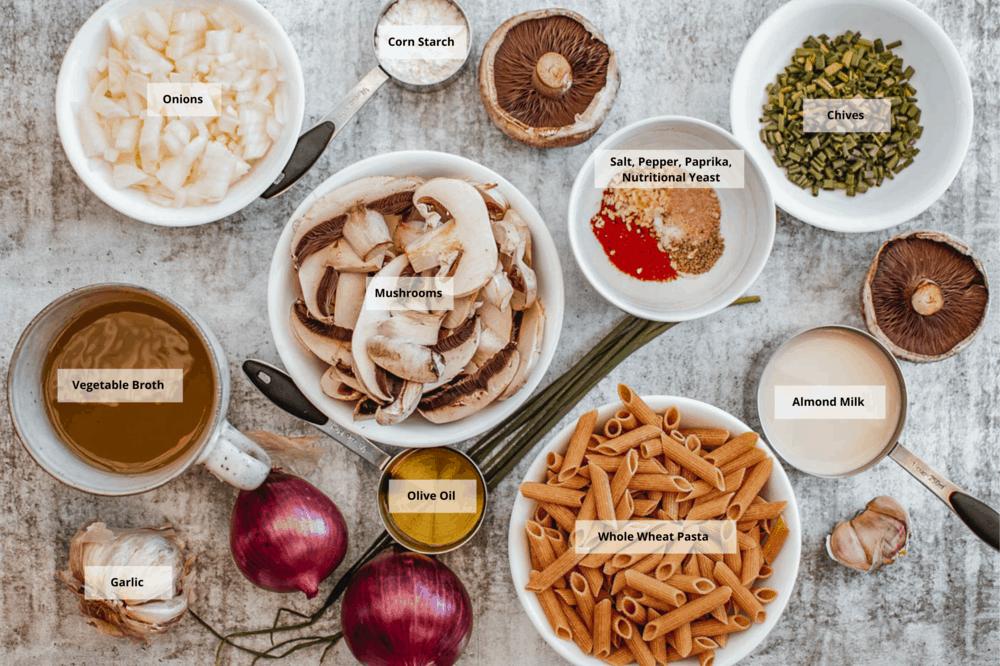 ingredients for vegan mushroom stroganoff