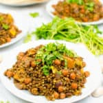 apple curry with lentils and chickpeas served on a white plate