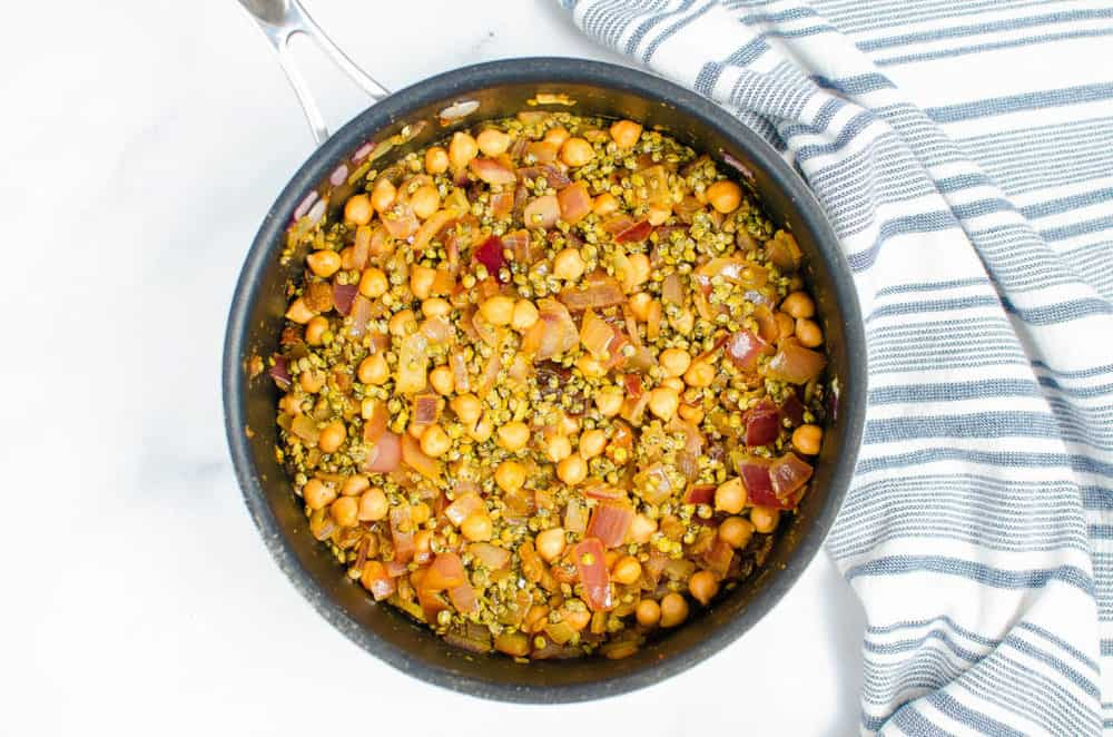 chickpeas and lentils cooking in a pot