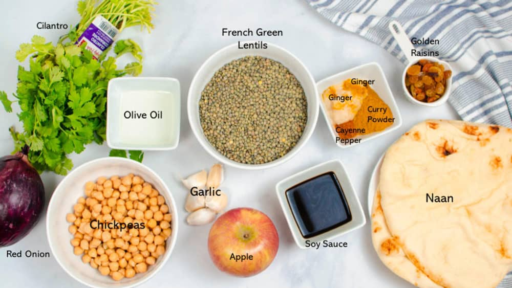 ingredients for apple curry with lentils and chickpeas