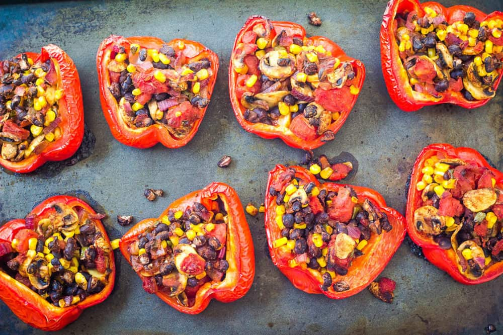 baked peppers fresh out of the oven