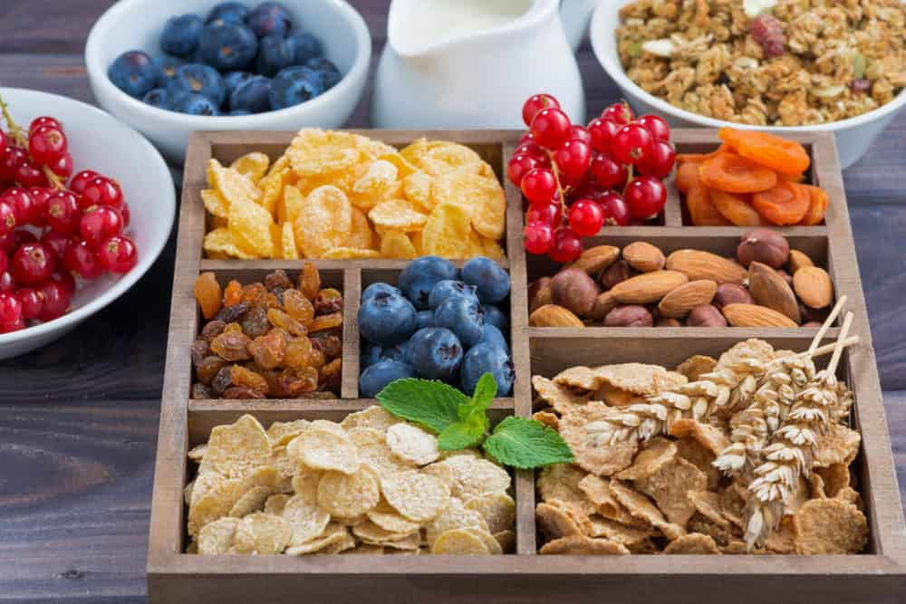 healthy college snacks - snackbox full of fruit, nuts, and other healthy snacks