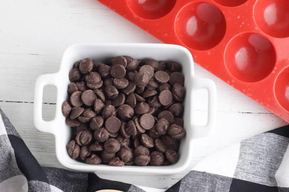 chocolate chips in glass bowl