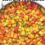 chickpeas and vegetables in pan