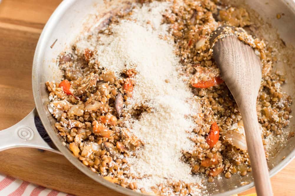 breadcrumbs added to pot with veggies