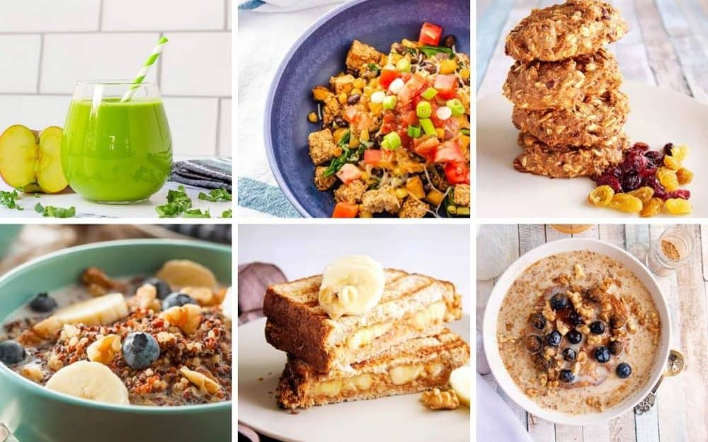 18 quick and easy vegetarian breakfast recipes - collage of different recipes